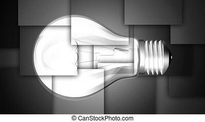 energy bulb animation - normal bulb turns into an energy...