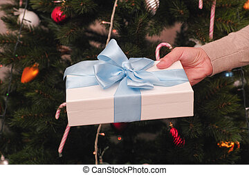 Woman holding christmas gift in her hand