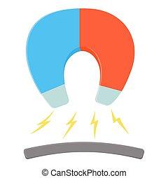 Horseshoe magnet icon, cartoon style - Horseshoe magnet...