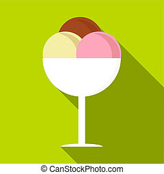 Mixed ice cream in a bowl icon, flat style - Mixed ice cream...