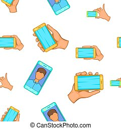 Photography on smartphone pattern, cartoon style