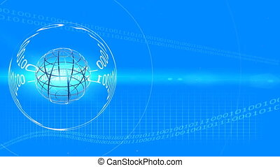 TRANSPARENT FRAME BLUE GLOBE - Computer-rendered animation...