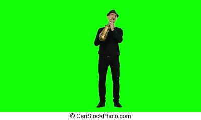 Green screen. Blues melodies performed by musician on the...