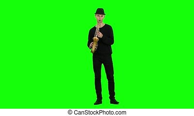 Green screen. Jazz melodies performed by musician on the...