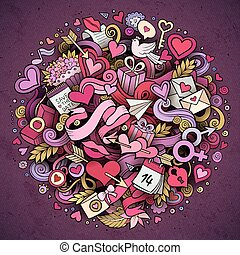 Cartoon vector hand drawn Doodle Love illustration. Colorful...
