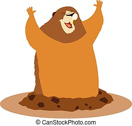 Happy greeting groundhog - Vector image of the Happy...