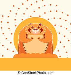 Happy colourfull groundhog - Vector image of the Happy...