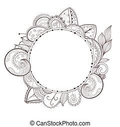 Vector circle floral frame.