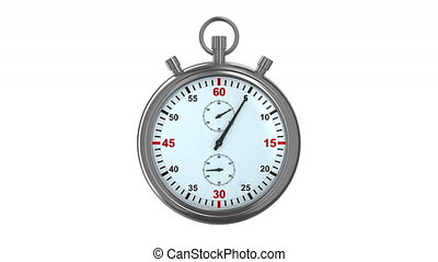Stopwatch on white background. 3D render