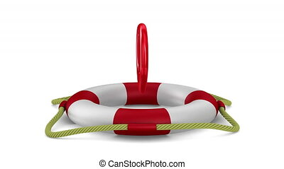 Exclamation sign into lifebuoy on white background. 3D...