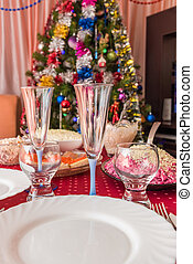 table covered tablecloth background dressed up Christmas...