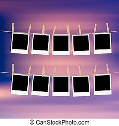 Photo Frames on Rope - Retro photo frames hung on a rope...
