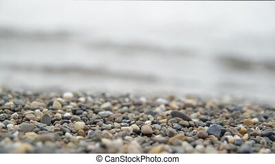 Amber on a beach close-up - Amber on a beach of the sea