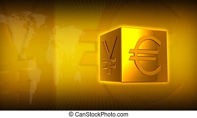 Gold Square and Money - Computer-rendered animation for...