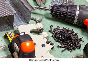 drywall, Conjunto, herramientas