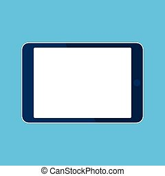 Tablet computer icon. Template horizontal blank white screen, mock up. Device isolated on blue. Vector cartoon flat illustration for web site, app, UI