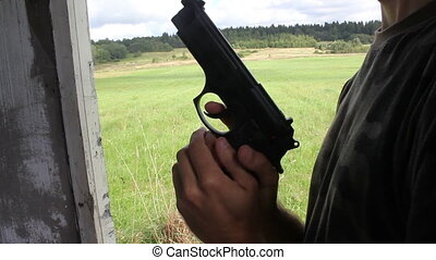 Man Cocking The Handgun - Specifications: Full HD 1920_1080...