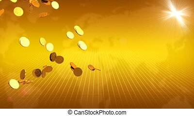 Gold Coins and World Map Behind - Computer-rendered...