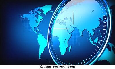 TRANSPARENT CLOCK and WORLD MAP - Computer-rendered...