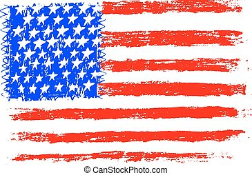 American flag, pencil drawing illustration kid style vector...