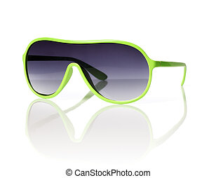 Sunglasses - Cheap green plastic 1980s style sunglasses on...