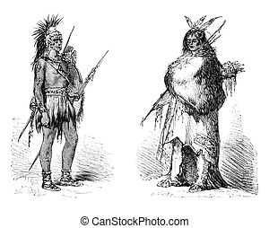 Wichita indian - Wichita native american warrior in both...