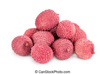 Lychees on a slate slab (selective focus) - Portion of...