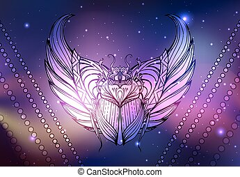 Vector neon illustration of scarab with wings, background space with stars and nebula. Spiritual, magical illustration for your creativity