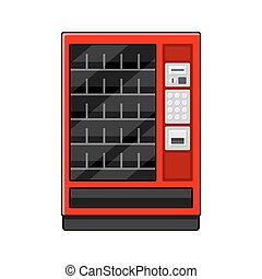 Red Vending Machine on White Background. Vector illustration