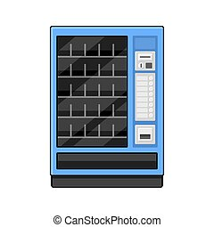 Blue Vending Machine on White Background. Vector...