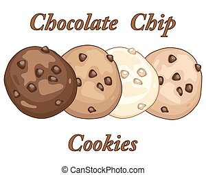 Vector Clip Art of Chocolate Chip Cookies With Bite Mark Vector ...