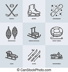 Cute thin line icons of winter sports. Outdoor activities...