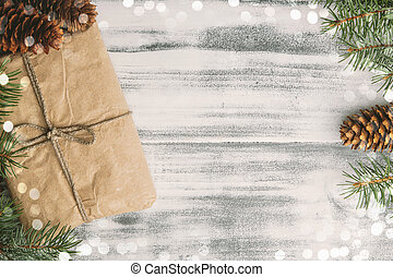 Christmas vintage background - Gift wrapped craft paper with...