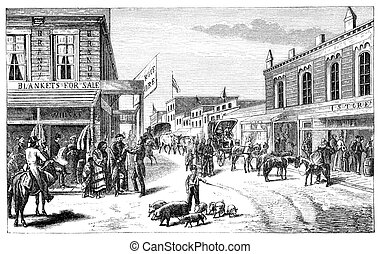 Wichita - A Street in Wichita, Kansas Illustration...