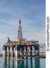 Malaga Spain Oil Platform - Oil drilling platform in harbor...