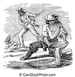 Placer mining for minerals. Illustration originally...