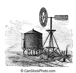 Water tank and windmill on prairie Illustration originally...