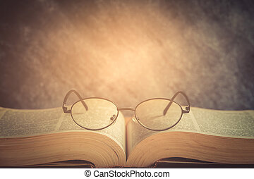 book and glasses - Book and Glasses. Vintage style