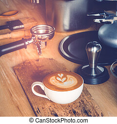 coffee - Coffee latte art with coffee maker accessories