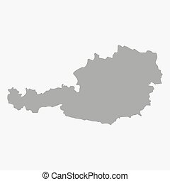Map of Austria in gray on a white background