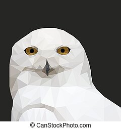 White Owl in the style of low-poly on a black background. Vector illustration