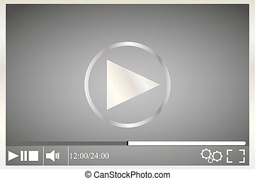 Media player on a gray background with white buttons
