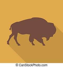 Icon bison on an orange background in the flat design....