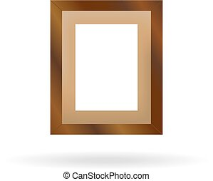 Wooden photo frame with shadow on a white background