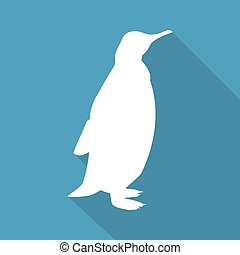Icon penguin on a blue background in a flat design. Vector illustration