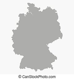 Map of the Germany in gray on a white background - Map of...
