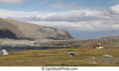 Camping at mountain river in Mongol