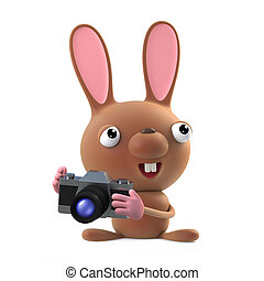 3d Cute cartoon Easter bunny rabbit takes a photo with his...