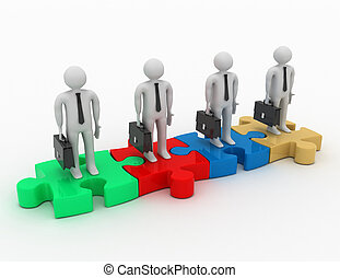 The concept of teamwork. 3D Illustration. Isolated