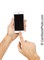 Male hands holding smartphone on white background